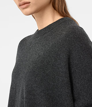 Womens Kasha Cashmere Sweater (Charcoal) - product_image_alt_text_2
