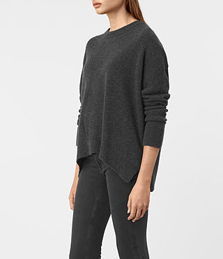 Womens Kasha Cashmere Sweater (Charcoal) - product_image_alt_text_3