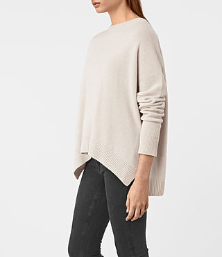 Mujer Kasha Cashmere Sweater (PORCELAIN WHITE) - product_image_alt_text_4