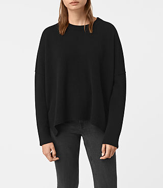 Womens Kasha Cashmere Sweater (Black)