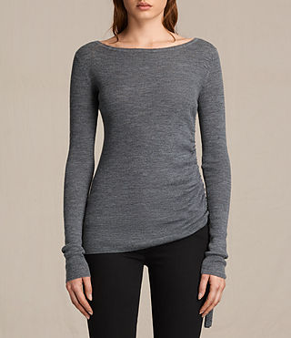 Women's Vana Crew Neck Top (CHARCOAL GREY MARL) -