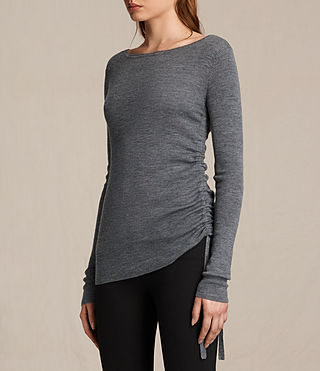 Women's Vana Crew Neck Top (CHARCOAL GREY MARL) - product_image_alt_text_2