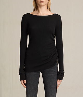 Mujer Vana Crew Neck Top (Black) - product_image_alt_text_1
