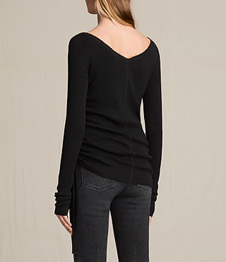 Mujer Vana Crew Neck Top (Black) - product_image_alt_text_4