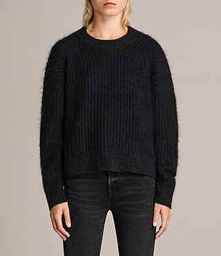 Womens Ade Cropped Sweater (Black) - product_image_alt_text_1