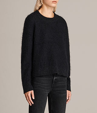 Womens Ade Cropped Sweater (Black) - product_image_alt_text_3