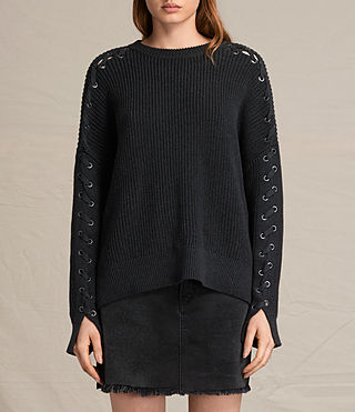Womens Aria Laced Sweater (Cinder Black Marl)