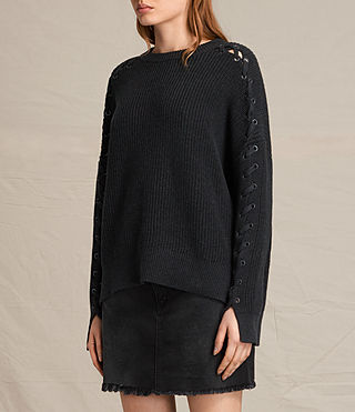 Womens Aria Laced Sweater (Cinder Black Marl) - product_image_alt_text_3