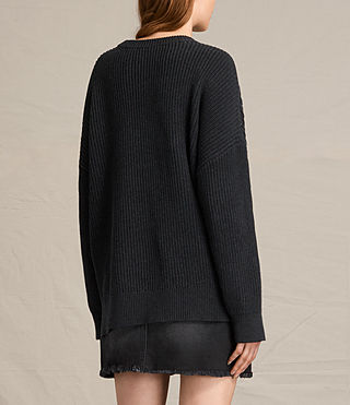 Womens Aria Laced Sweater (Cinder Black Marl) - product_image_alt_text_4