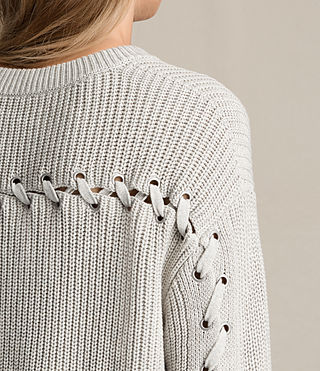 Mujer Aria Laced Short Sweater (Ash Grey)