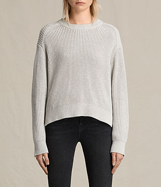 Women's Aria Laced Short Jumper (Ash Grey) - product_image_alt_text_2