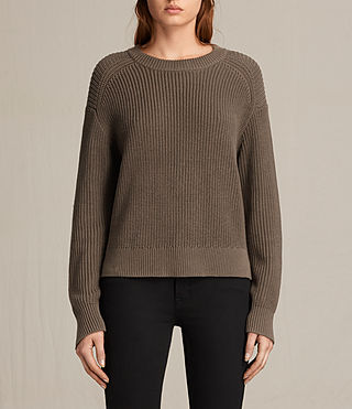 Womens Aria Laced Short Sweater (Khaki Green) - product_image_alt_text_1