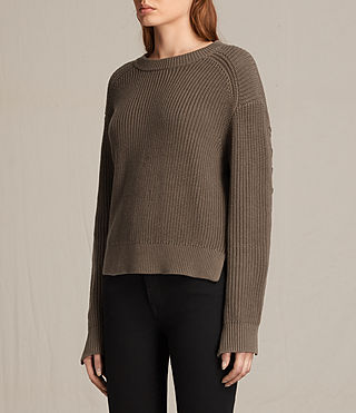 Womens Aria Laced Short Sweater (Khaki Green) - product_image_alt_text_3
