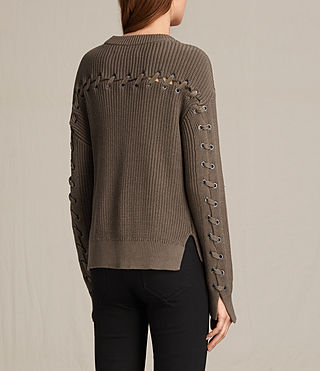 Womens Aria Laced Short Sweater (Khaki Green) - product_image_alt_text_4