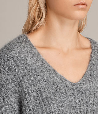 Femmes Pull Col V Ade (Grey Marl) - product_image_alt_text_2