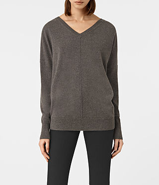 Womens Mather Cashmere Sweater (DARK SHADOW BROWN) - product_image_alt_text_1