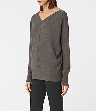 Women's Mather Cashmere Jumper (DARK SHADOW BROWN) - product_image_alt_text_2
