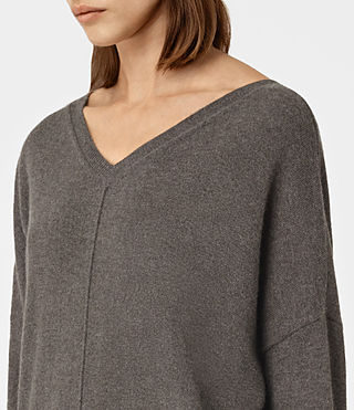 Women's Mather Cashmere Jumper (DARK SHADOW BROWN) - product_image_alt_text_3