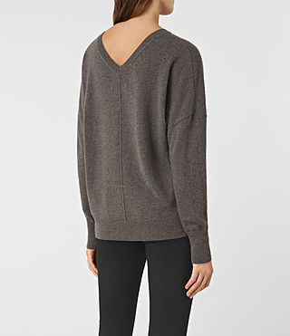 Women's Mather Cashmere Jumper (DARK SHADOW BROWN) - product_image_alt_text_4