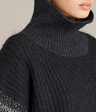 Women's Keats Funnel Neck Jumper (BLACK/GREY MIX) - Image 2