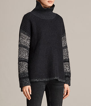 Women's Keats Funnel Neck Jumper (BLACK/GREY MIX) - Image 3