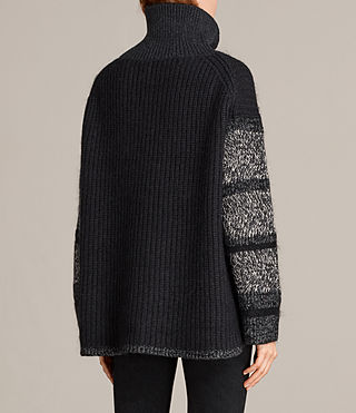 Women's Keats Funnel Neck Jumper (BLACK/GREY MIX) - Image 4