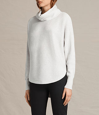 Womens Rio Roll Neck Sweater (Ash Grey) - product_image_alt_text_3