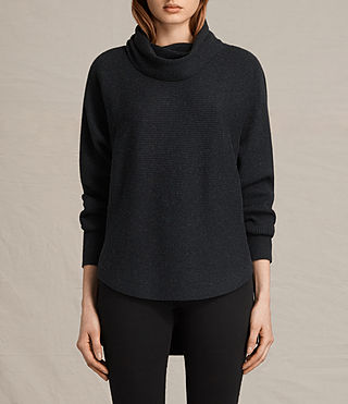 Mujer Rio Roll Neck Sweater (Cinder Black Marl)
