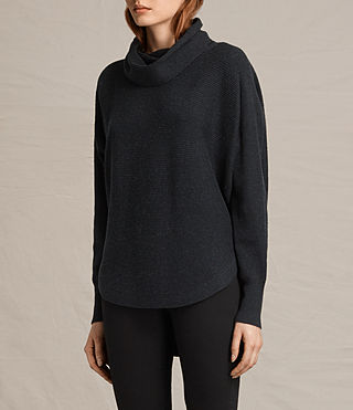 Damen Rio Roll Neck Jumper (Cinder Black Marl) - product_image_alt_text_3