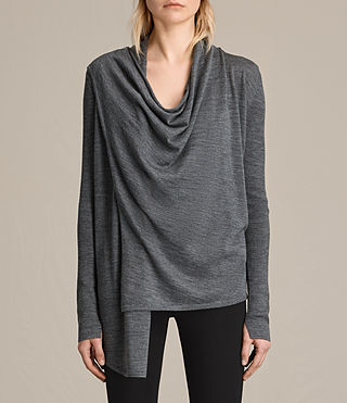 Damen Drina Ribbed Cardigan (Charcoal Grey)