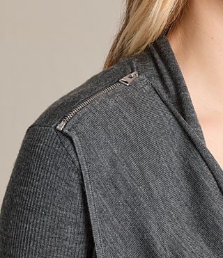 Women's Drina Ribbed Cardigan (Charcoal Grey) - product_image_alt_text_2