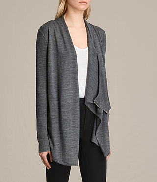 Damen Gerippter Drina Cardigan (Charcoal Grey) - product_image_alt_text_3