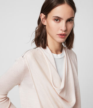 Women's Drina Ribbed Cardigan (ALMOND PINK MARL) - product_image_alt_text_2