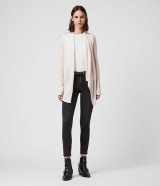 Women's Drina Ribbed Cardigan (ALMOND PINK MARL) - product_image_alt_text_3