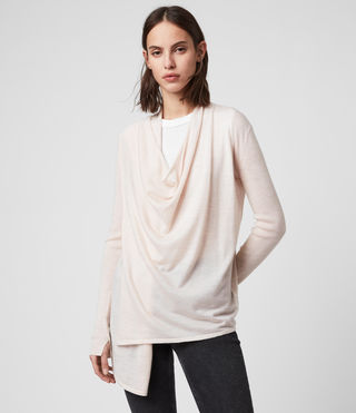 Women's Drina Ribbed Cardigan (ALMOND PINK MARL) - product_image_alt_text_4