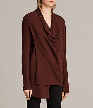 Donne Cardigan Drina Ribbed (BURGUNDY RED) - Image 2