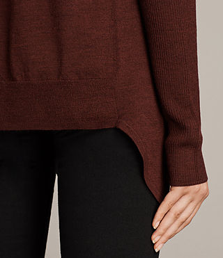 Donne Cardigan Drina Ribbed (BURGUNDY RED) - Image 3