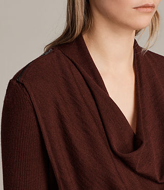 Donne Cardigan Drina Ribbed (BURGUNDY RED) - Image 4