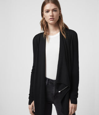 Womens Drina Ribbed Cardigan (Black) - product_image_alt_text_1