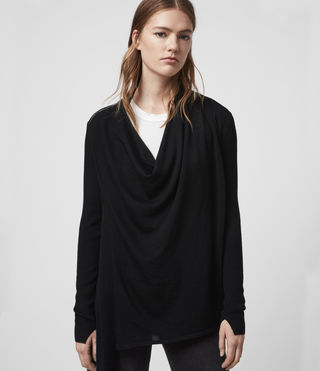 Mujer Cardigan acanalado Drina (Black) - product_image_alt_text_4