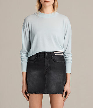 Womens Lotus Cropped Cashmere Sweater (PASTEL BLUE) - product_image_alt_text_1