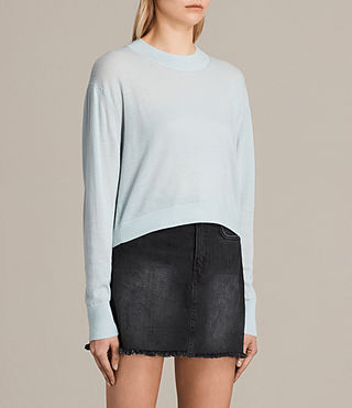 Women's Lotus Cropped Cashmere Jumper (PASTEL BLUE) - product_image_alt_text_2