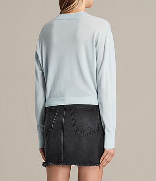 Women's Lotus Cropped Cashmere Jumper (PASTEL BLUE) - product_image_alt_text_3
