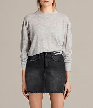 Mujer Lotus Cropped Cashmere Jumper (Light Grey Marl)