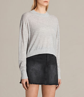 Womens Lotus Cropped Cashmere Sweater (Light Grey Marl) - product_image_alt_text_2