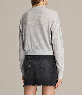 Women's Lotus Cropped Cashmere Jumper (Light Grey Marl) - product_image_alt_text_3