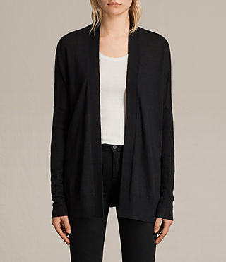 Women's Lotus Cashmere Cardigan (Black) -