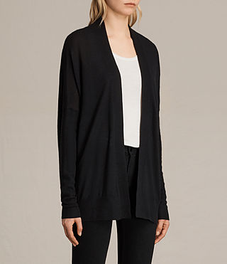 Women's Lotus Cashmere Cardigan (Black) - product_image_alt_text_2