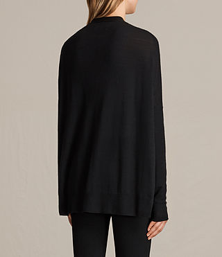 Women's Lotus Cashmere Cardigan (Black) - product_image_alt_text_3