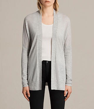 Mujer Lotus Cashmere Cardigan (Light Grey Marl)